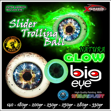 Picture of X-PARAGON BIG EYE SLIDER TROLLING BALL NATURA GLOW 200GR